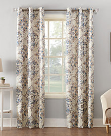 Sun Zero Regina Watercolor Floral Thermal Insulated Grommet Curtain Panel Collection