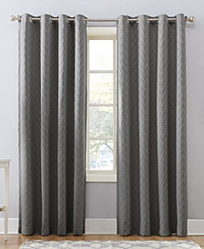 Sun Zero Corinne Woven Geometric Blackout Lined Grommet Curtain Panel Collection