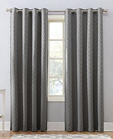 "Sun Zero Corinne 52"" X 63"" Woven Geometric Blackout Lined Grommet Curtain Panel"