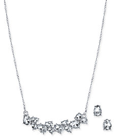 "Charter Club Silver-Tone Crystal Collar Necklace & Stud Earrings Set, 17"" + 2"" extender, Created for Macy's"