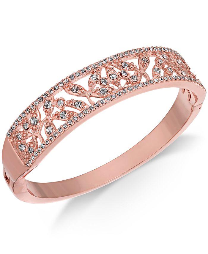 Charter Club - Rose Gold-Tone Crystal Filigree Bangle Bracelet