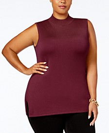 Plus Size Mock-Neck Sleeveless Sweater, Created for Macy's