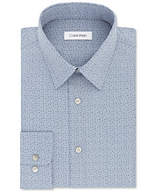 Calvin Klein Men's STEEL Classic/Regular Fit Non-Iron Performance Navy Print Dress Shirt