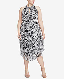 RACHEL Rachel Roy Trendy Plus Size Knotted Midi Dress