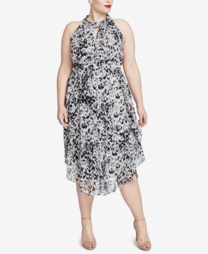 RACHEL RACHEL ROY Trendy Plus Size Knotted Midi Dress in Black Combo