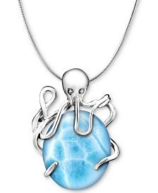 "Marahlago Larimar Octopus 21"" Pendant Necklace in Sterling Silver"
