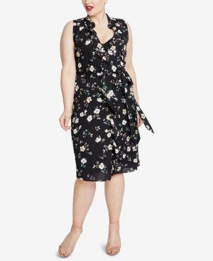Brit Sleeveless Floral Georgette Dress, Plus Size, Black Combo