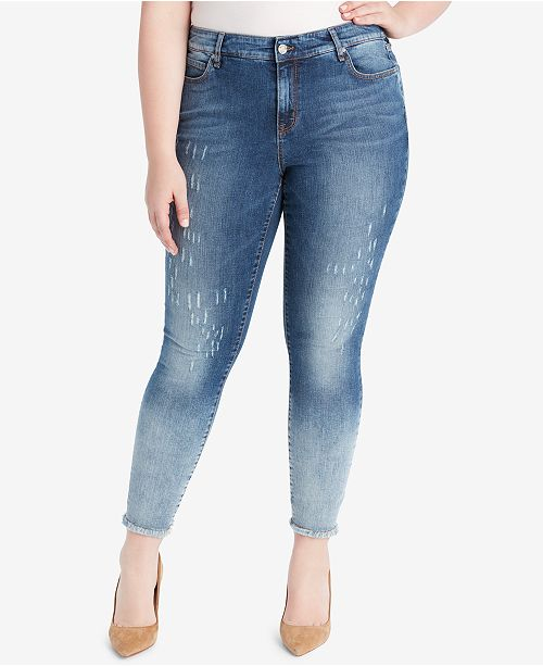 WILLIAM RAST Plus Size Distressed Skinny Jeans