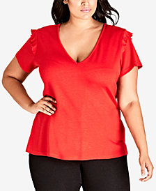 City Chic Trendy Plus Size Ruffle-Sleeve Top