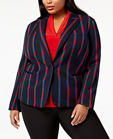 Anne Klein Plus Size Striped One-Button Blazer
