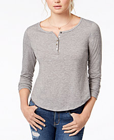 American Rag Juniors' Ruffled Cutout Henley, Created for Macy's