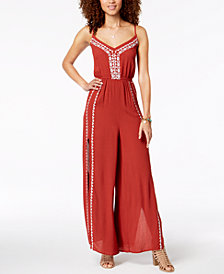 American Rag Juniors' Embroidered Split-Leg Jumpsuit, Created for Macy's