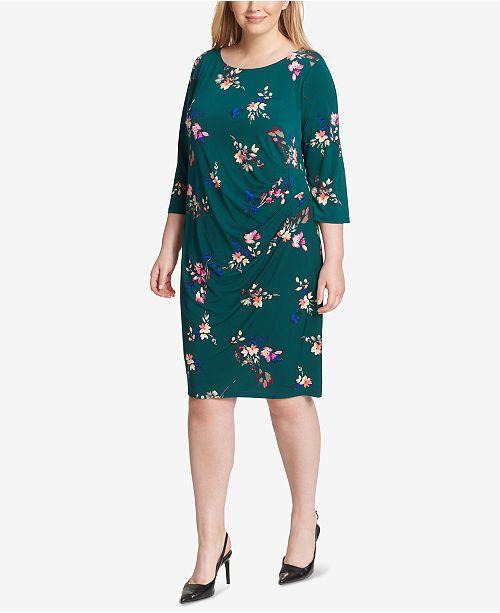 Jessica Howard Plus Size Floral Jersey Wrap Dress - Dresses ...