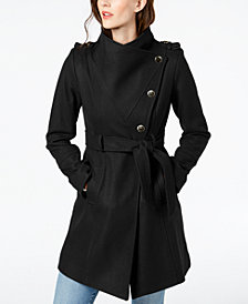 GUESS Asymmetrical Belted Wool Wrap Coat