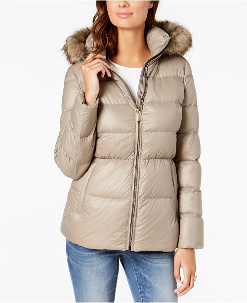 29196b2f47c Michael Kors Faux-Fur-Trim Hooded Puffer Coat   Reviews - Coats ...