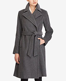 Lauren Ralph Lauren Wool-Cashmere Blend Notch Collar Wrap Coat