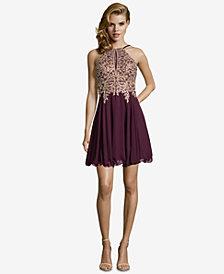 XSCAPE Floral-Appliqué Fit & Flare Dress