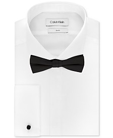 Calvin Klein Men's Slim-Fit Solid French Cuff Dress Shirt & Pre-Tied Solid Bow Tie Set