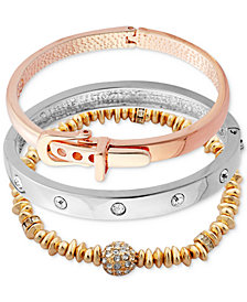 GUESS Tri-Tone 3-Pc. Set Crystal, Bead & Buckle Bracelets