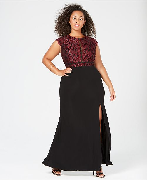 Morgan Company Trendy Plus Size Glitter Lace Dress Dresses