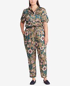 Lauren Ralph Lauren Plus Size Floral-Print Twill Jumpsuit