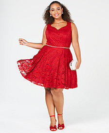 City Studios Trendy Plus Size Sleeveless Lace Fit & Flare Dress