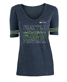 5th & Ocean Women's Seattle Seahawks Tri Blend Foil Sleeve Stripe T-Shirt