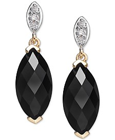 Onyx (12 x 6mm) & Diamond Accent Drop Earrings in 14k Gold