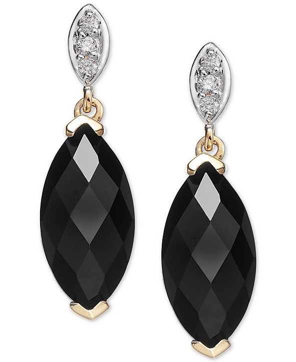 Macy's Onyx (12 x 6mm) & Diamond Accent Drop Earrings in 14k Gold