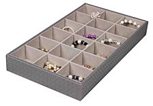 Home Basics Faux Leather 18  Compartment Jewelry Organizer