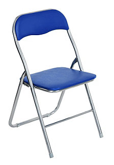 Metal Folding Chair, Blue