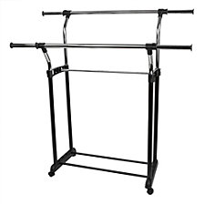 Chrome Plated Steel Adjustable Double Rail Garment Rack, Black