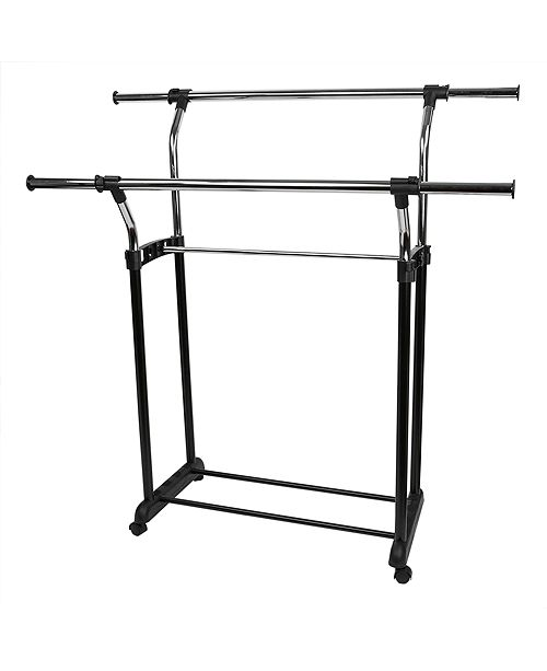 Home Basics Chrome Plated Steel Adjustable Double Rail Garment Rack
