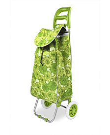 Rolling Shopping Cart, Floral Green