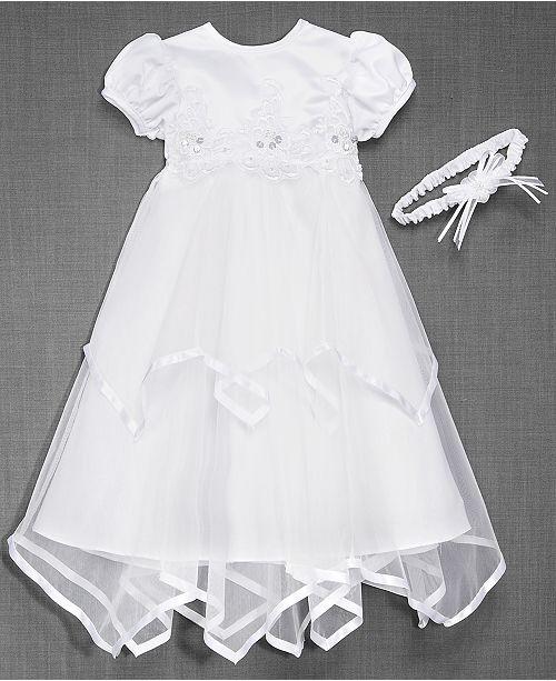 b7c26f2b6b Lauren Madison Baby Girls Headband   Handkerchief-Hem Christening Dress ...