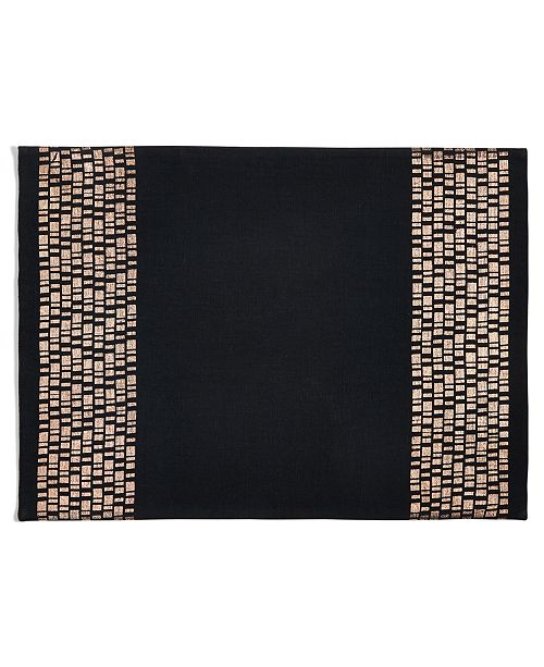 Hotel Collection CLOSEOUT! Black Placemat with Bronze, Created for Macy's