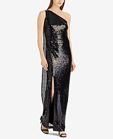 Lauren Ralph Lauren Sequin One-Shoulder Cape Dress