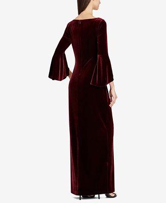 Lauren Ralph Lauren Velvet Ruffle Sleeve Gown Dresses Women Macy S