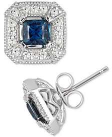 Sapphire (1/2 ct. t.w.) & Diamond (1/4 ct. t.w.) Stud Earrings in 10k White Gold