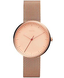Fossil Women's Essentialist Rose Gold-Tone Stainless Steel Mesh Bracelet Watch 38mm