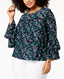 MICHAEL Michael Kors Plus Size Tiered-Sleeve Tunic