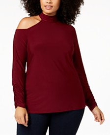 Love Scarlett Plus Size Cold-Shoulder Mock Turtleneck