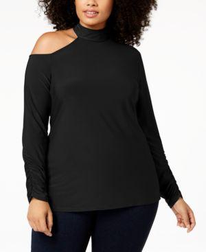Mock-Neck Cutout-Shoulder Sweater, Plus Size, Black
