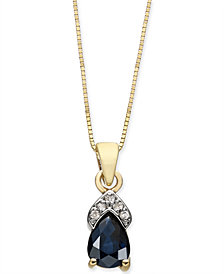 "Sapphire (7/8 ct. t.w.) & Diamond Accent 18"" Pendant Necklace in 14k Gold"