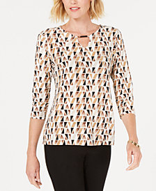 JM Collection Jacquard-Print Keyhole Top, Created for Macy's