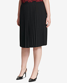 Calvin Klein Plus Size Pleated A-Line Skirt