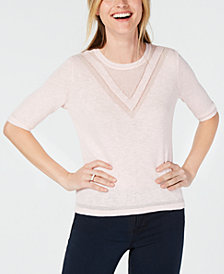 Maison Jules Crewneck Tonal Intarsia Sweater, Created for Macy's