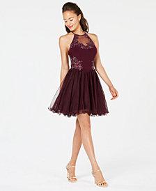 Blondie Nites Juniors' Embellished Colorblocked Dress