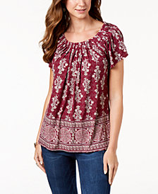 Style & Co Printed Pleat-Neck Top, Created for Macy's