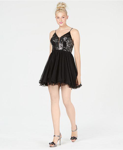 Flare Ivory Dress Juniors' Black Fit Blondie amp; Nites Sequin qXwWFY8